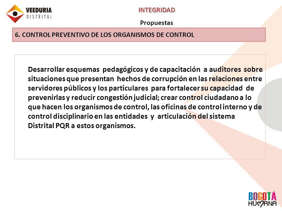 INTEGRIDAD Propuestas. 6. CONTROL PREVENTIVO DE LOS ORGANISMOS DE CONTROL.