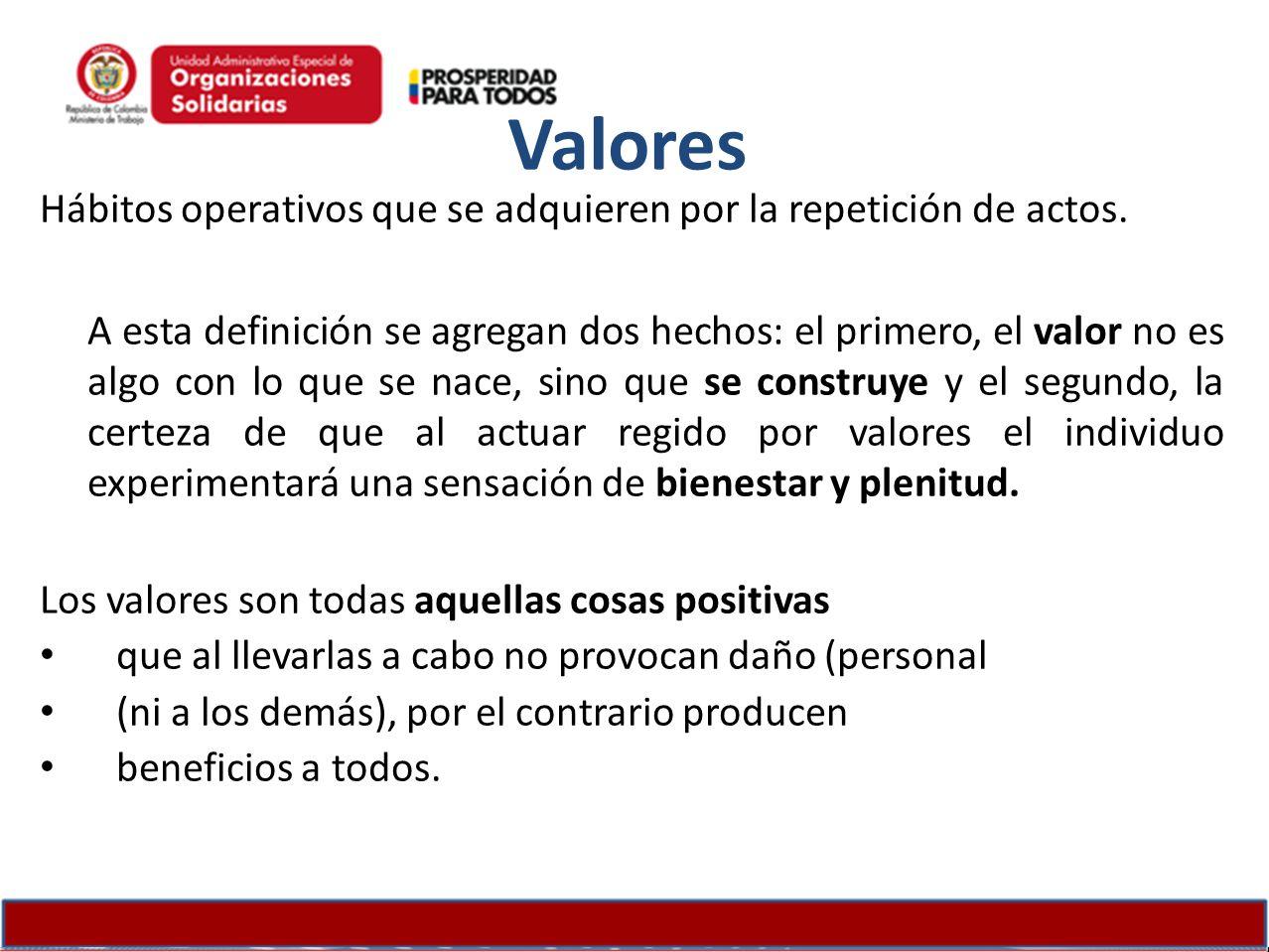 Valores Hábitos operativos que se adquieren por la repetición de actos.