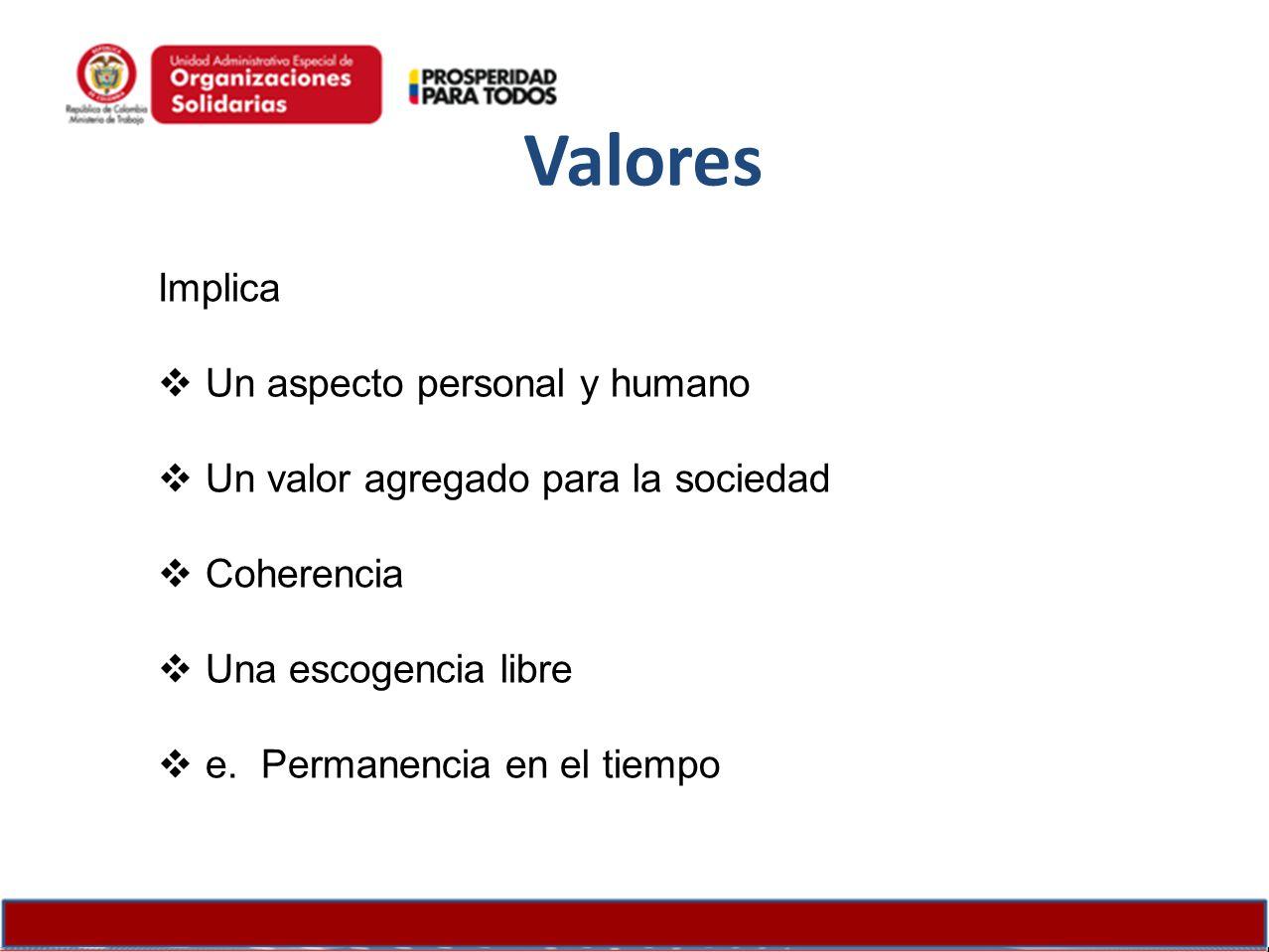 Valores Implica Un aspecto personal y humano