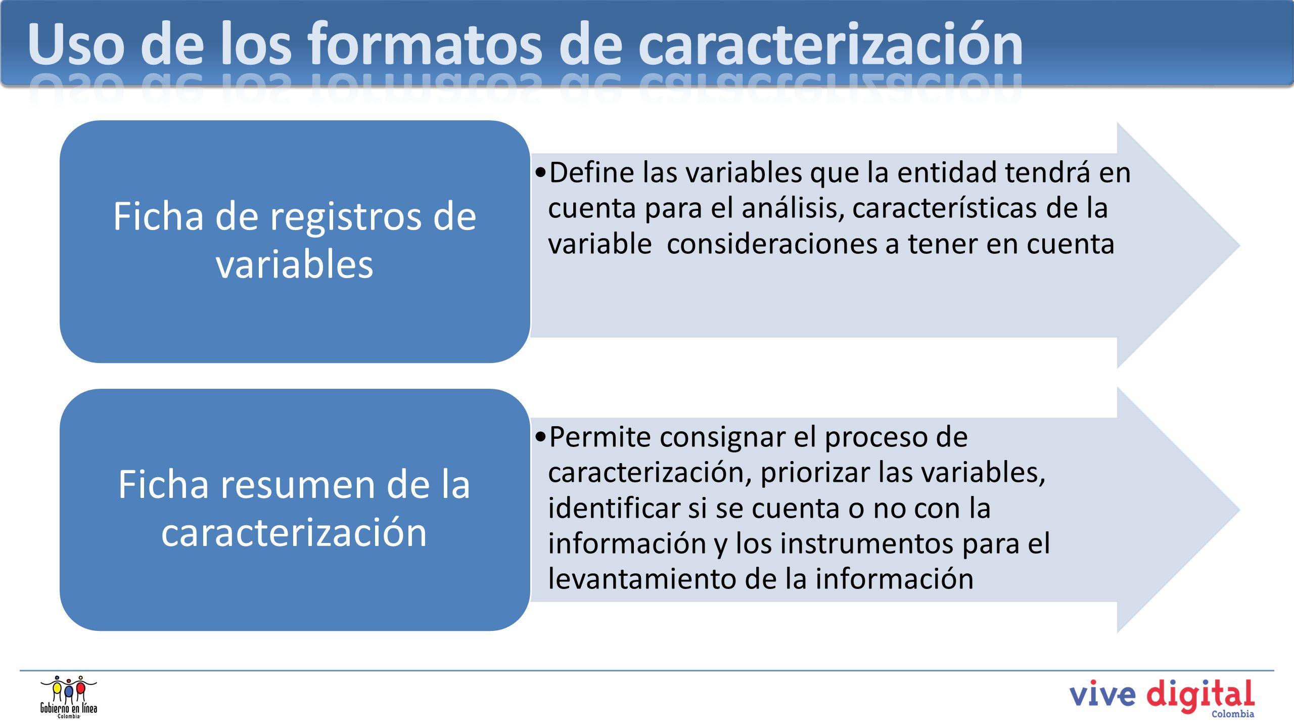 Uso de los formatos de caracterización