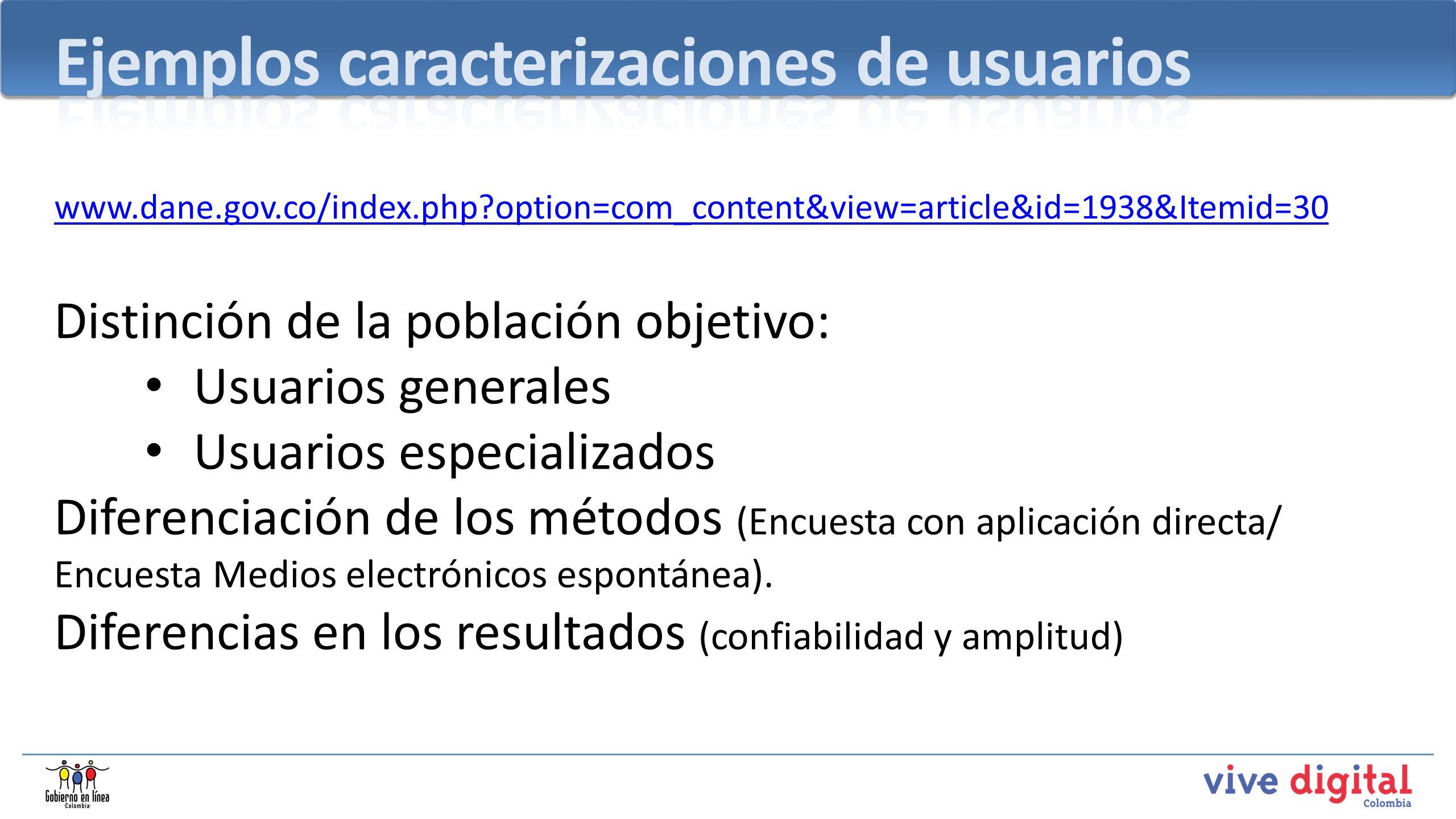 Ejemplos caracterizaciones de usuarios