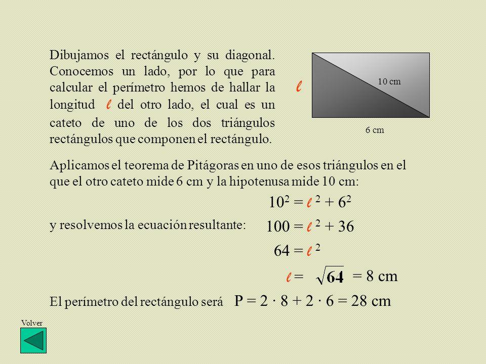 Dibujamos el rectángulo y su diagonal
