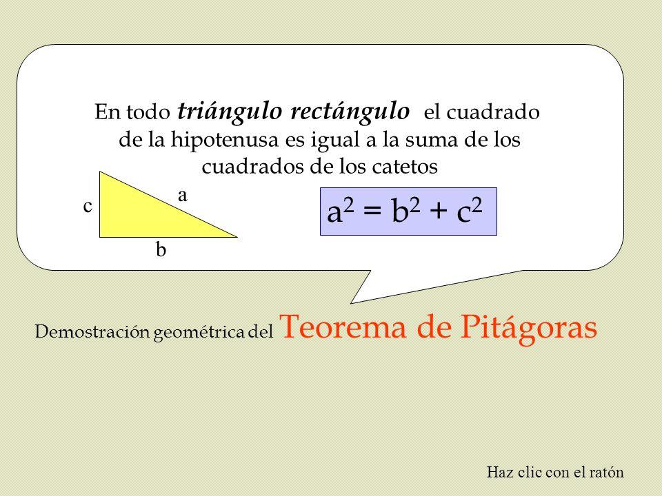 a2 = b2 + c2 En todo triángulo rectángulo el cuadrado