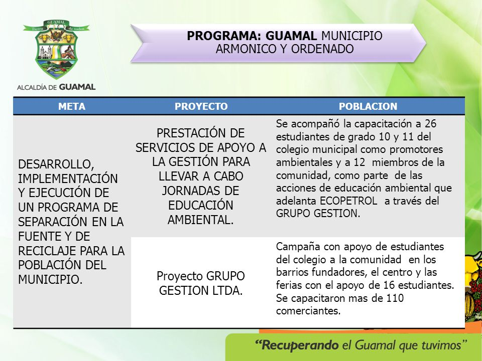 PROGRAMA: GUAMAL MUNICIPIO ARMONICO Y ORDENADO