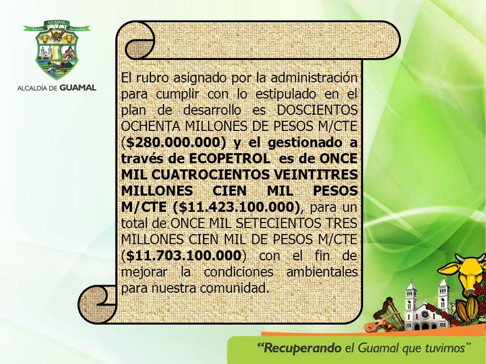 El rubro asignado por la administración para cumplir con lo estipulado en el plan de desarrollo es DOSCIENTOS OCHENTA MILLONES DE PESOS M/CTE ($280.000.000) y el gestionado a través de ECOPETROL es de ONCE MIL CUATROCIENTOS VEINTITRES MILLONES CIEN MIL PESOS M/CTE ($11.423.100.000), para un total de ONCE MIL SETECIENTOS TRES MILLONES CIEN MIL DE PESOS M/CTE ($11.703.100.000) con el fin de mejorar la condiciones ambientales para nuestra comunidad.