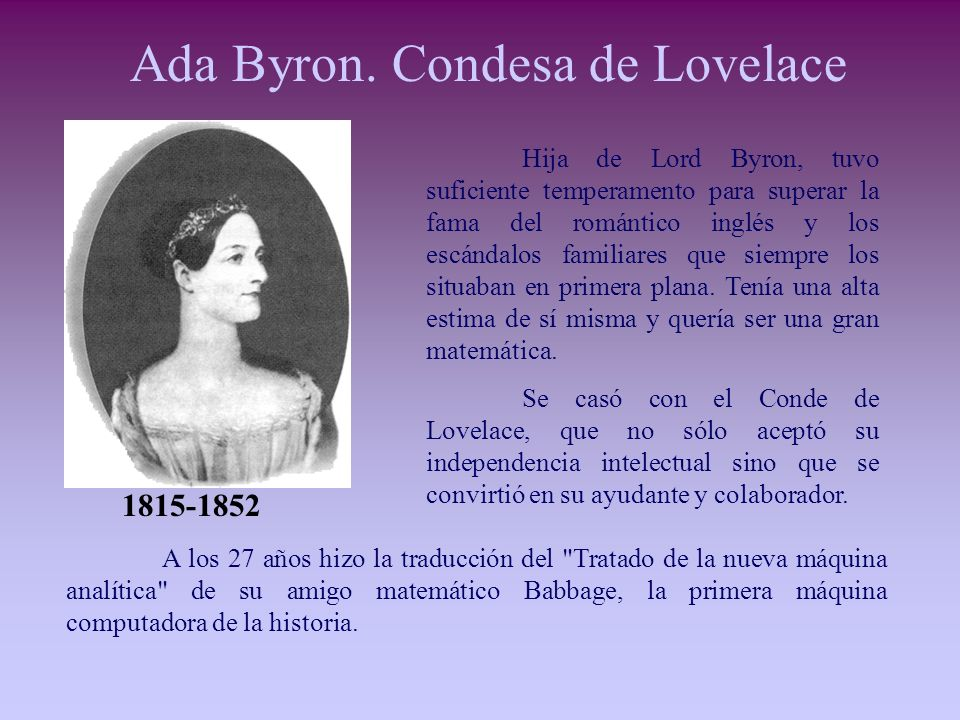 Ada Byron. Condesa de Lovelace
