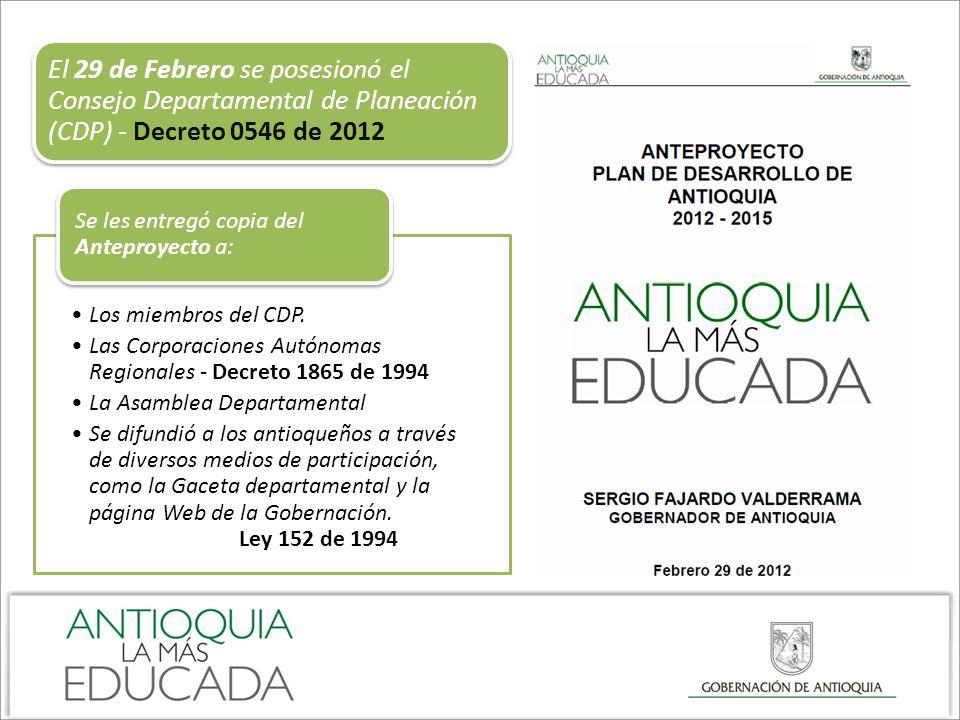 El 29 de Febrero se posesionó el Consejo Departamental de Planeación (CDP) - Decreto 0546 de 2012