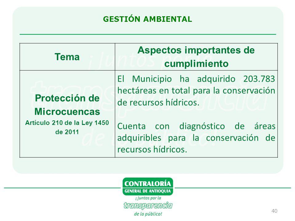 Aspectos importantes de cumplimiento Protección de Microcuencas