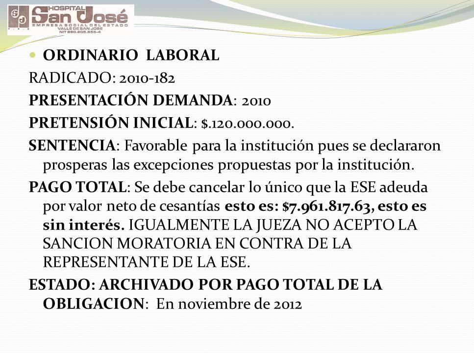 ORDINARIO LABORAL RADICADO: 2010-182. PRESENTACIÓN DEMANDA: 2010. PRETENSIÓN INICIAL: $.120.000.000.