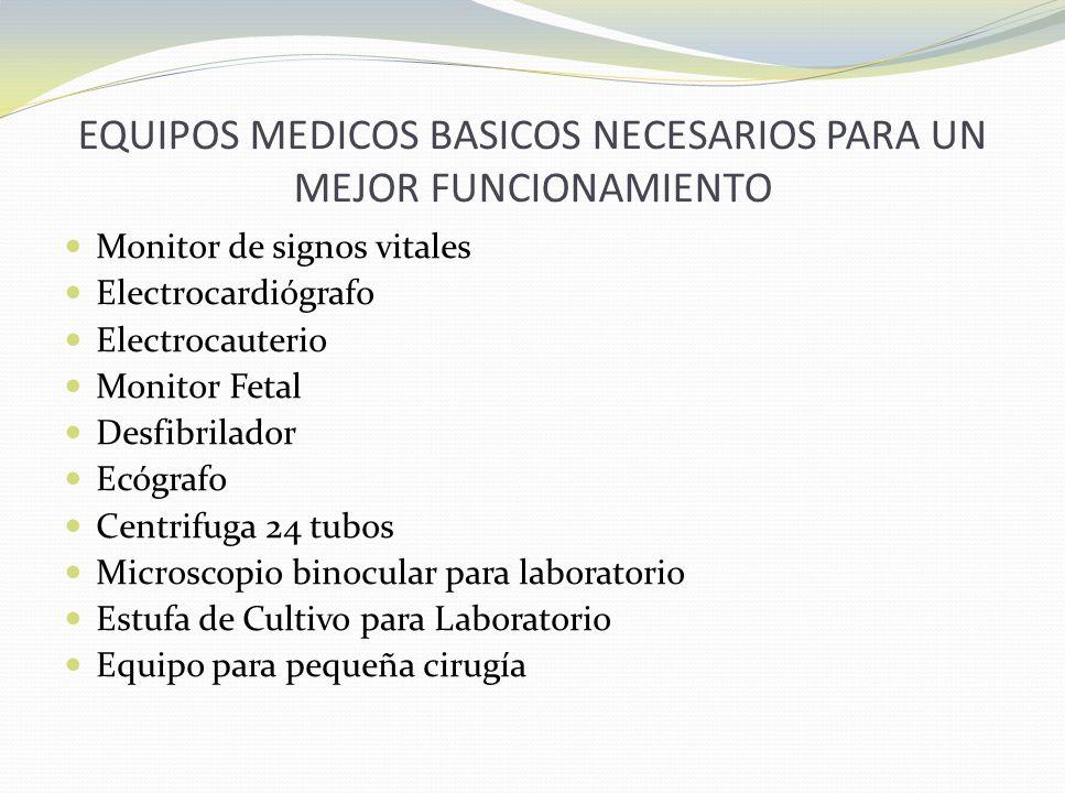 EQUIPOS MEDICOS BASICOS NECESARIOS PARA UN MEJOR FUNCIONAMIENTO