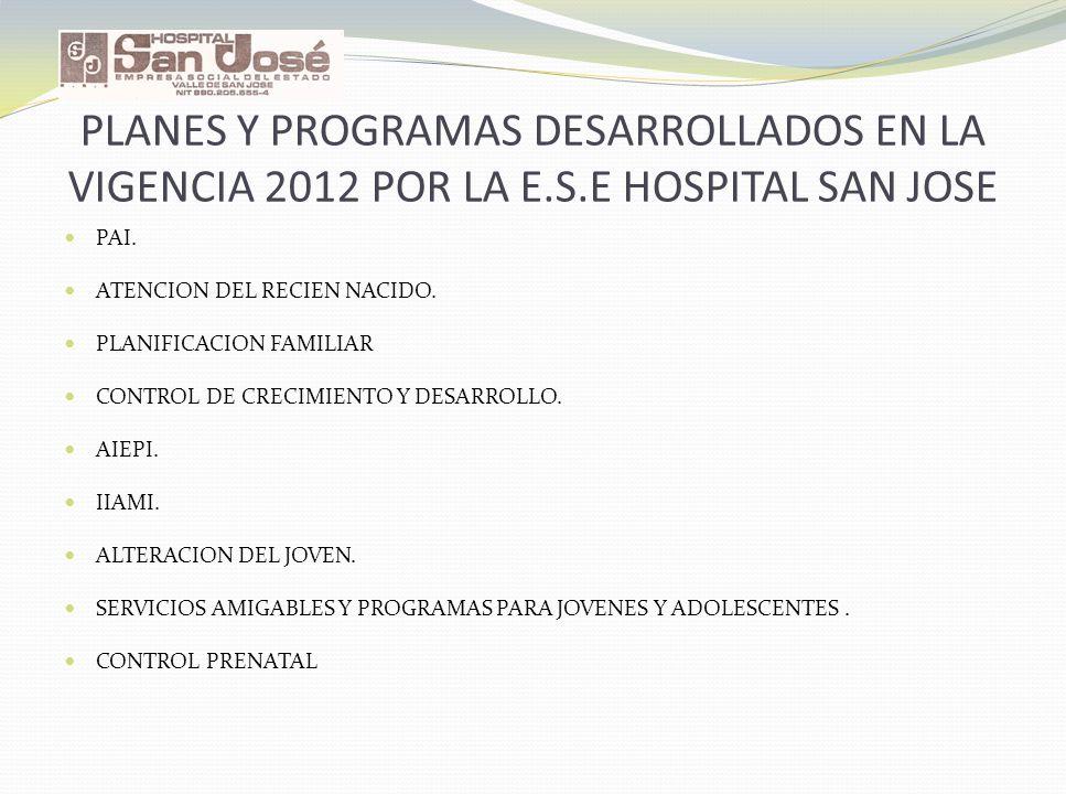PLANES Y PROGRAMAS DESARROLLADOS EN LA VIGENCIA 2012 POR LA E. S