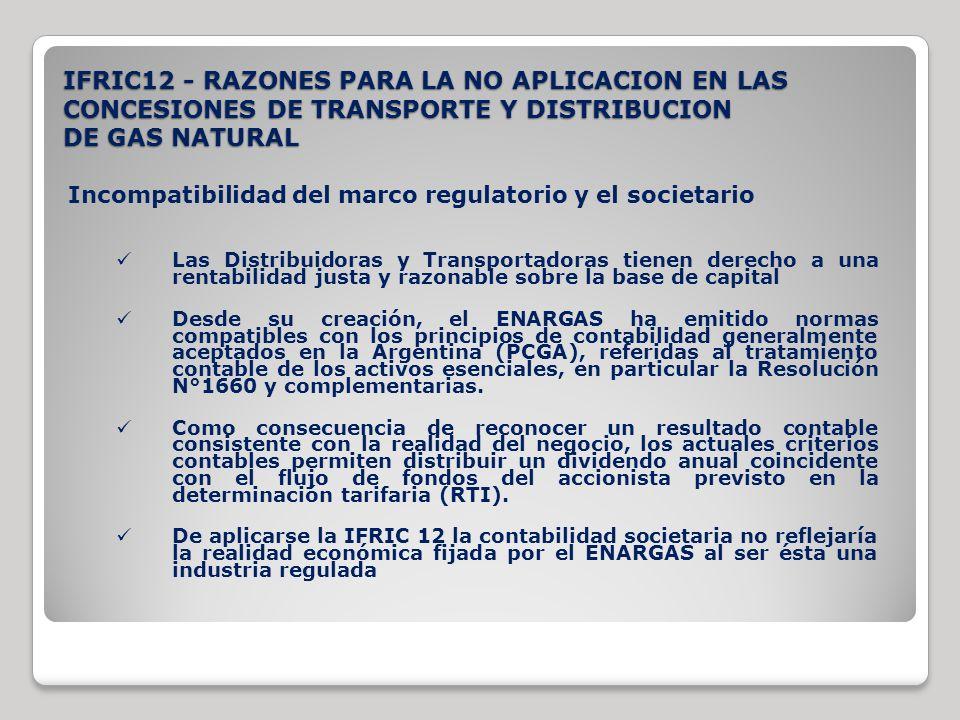 IFRIC12 - RAZONES PARA LA NO APLICACION EN LAS CONCESIONES DE TRANSPORTE Y DISTRIBUCION DE GAS NATURAL