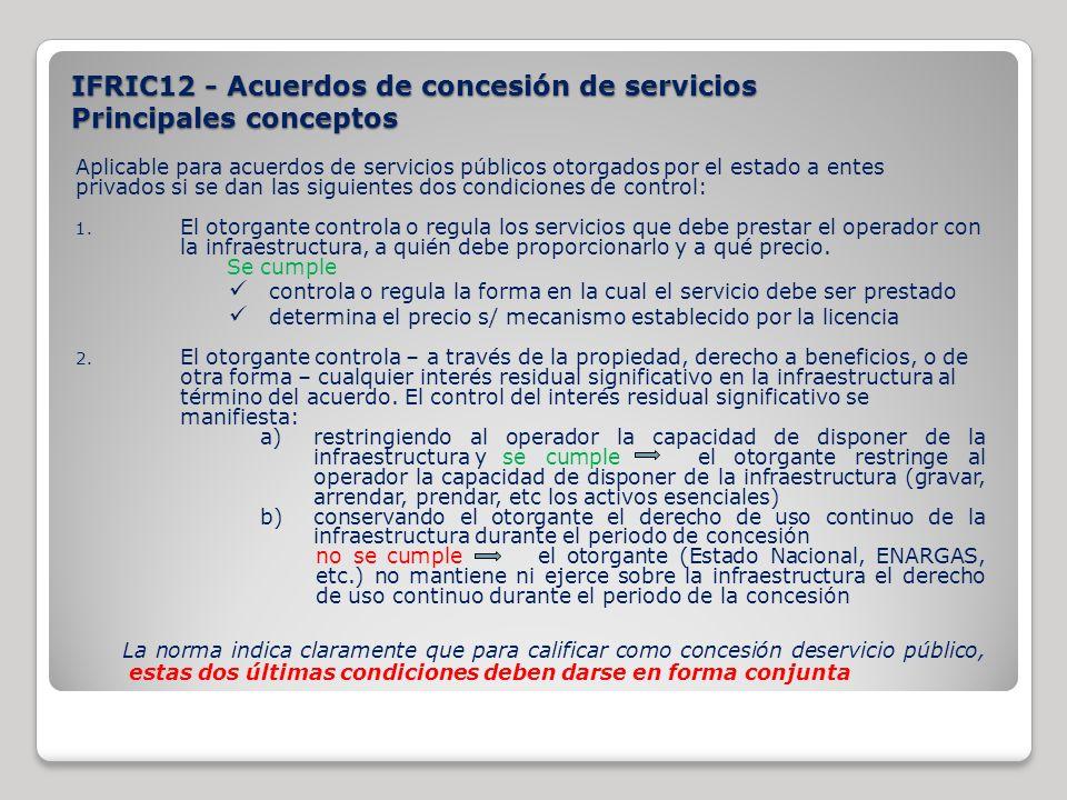 IFRIC12 - Acuerdos de concesión de servicios Principales conceptos
