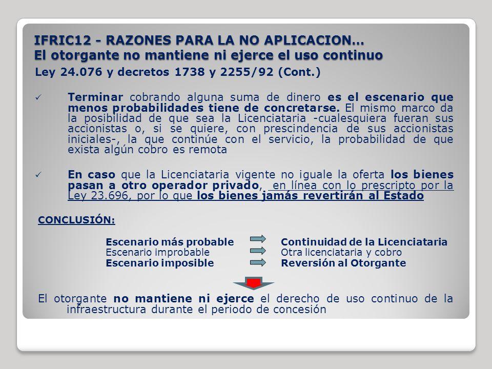 IFRIC12 - RAZONES PARA LA NO APLICACION… El otorgante no mantiene ni ejerce el uso continuo