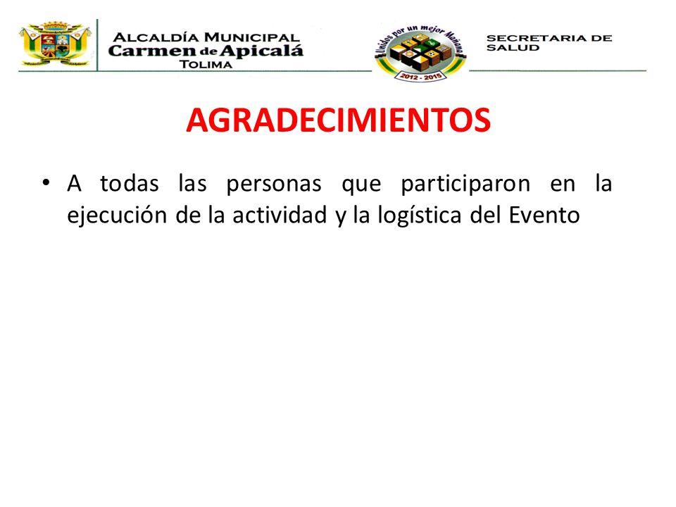 AGRADECIMIENTOS A todas las personas que participaron en la ejecución de la actividad y la logística del Evento.