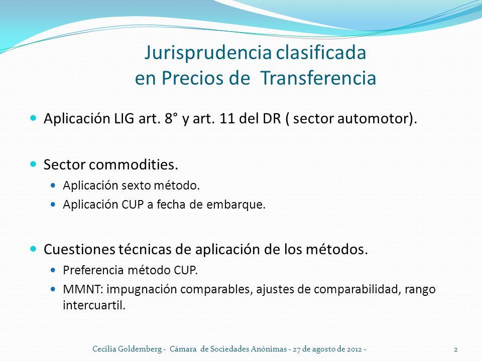 Jurisprudencia clasificada en Precios de Transferencia