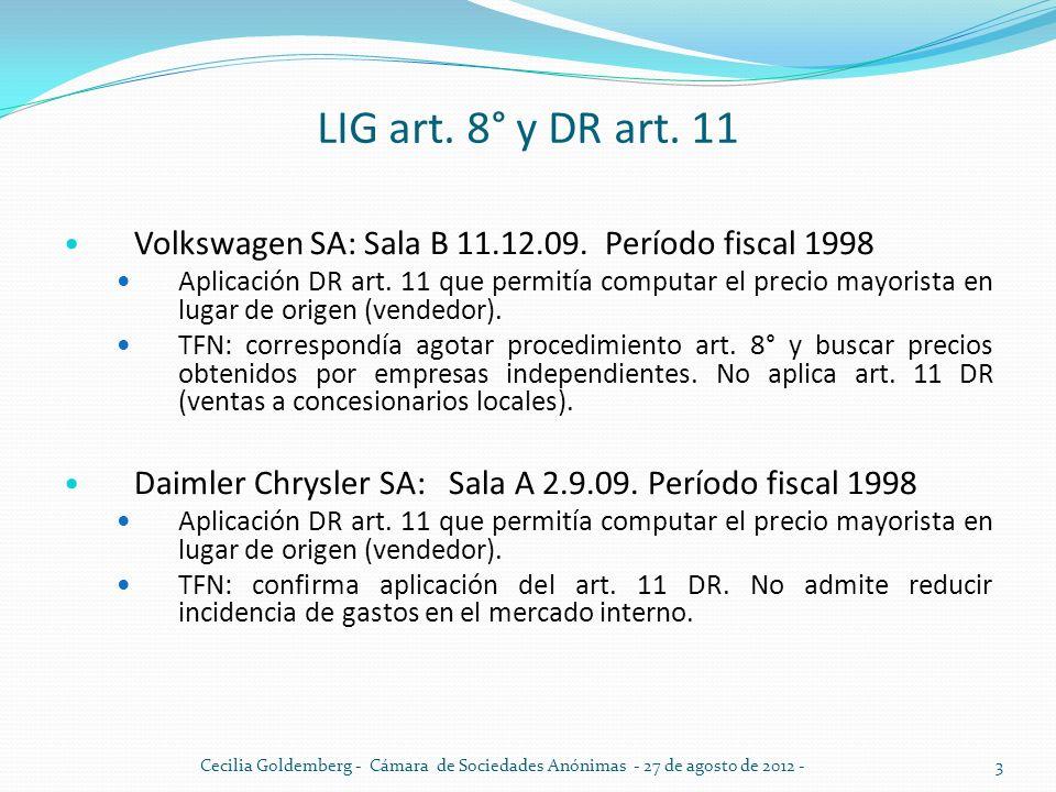 LIG art. 8° y DR art. 11 Volkswagen SA: Sala B 11.12.09. Período fiscal 1998.
