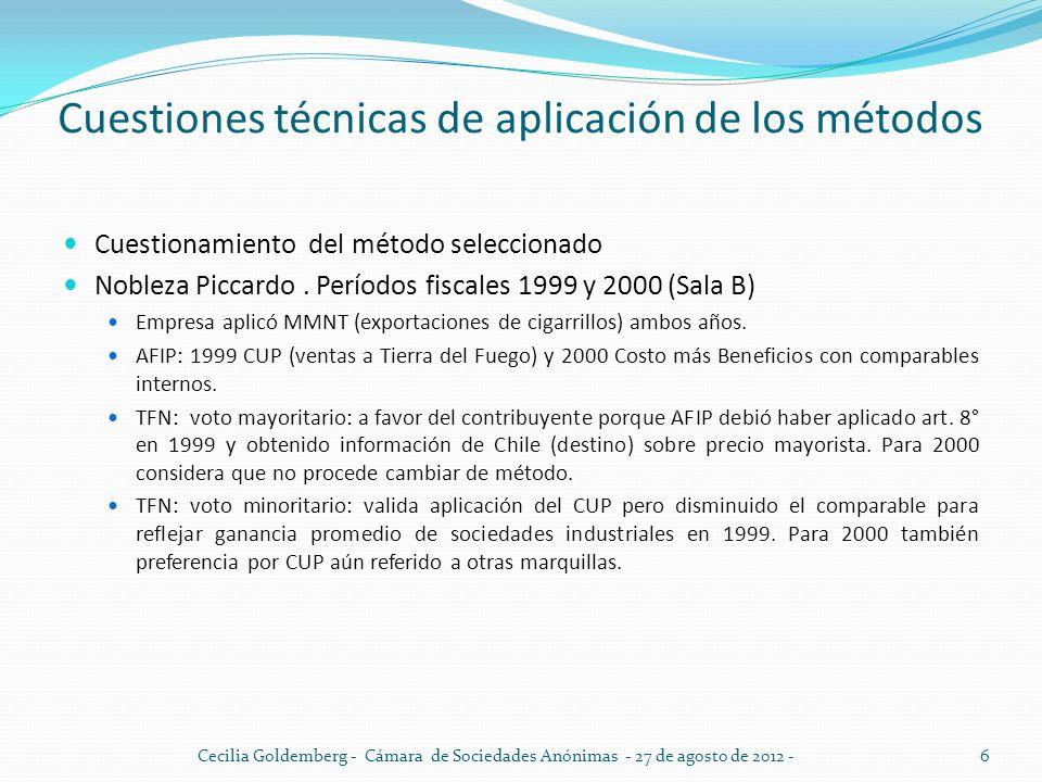 Cuestiones técnicas de aplicación de los métodos