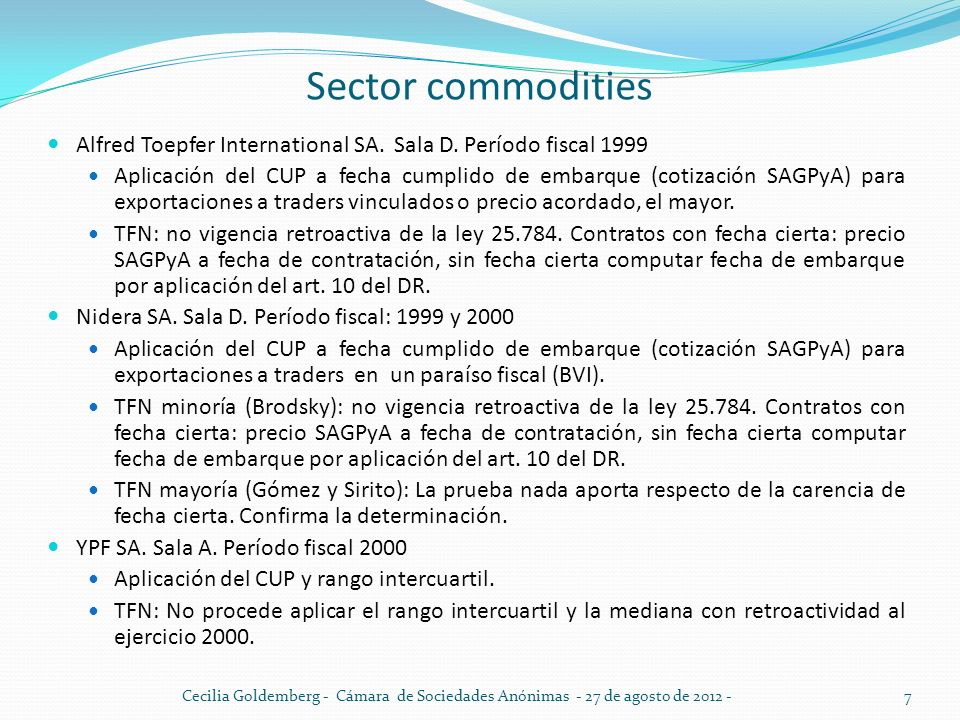 Sector commodities Alfred Toepfer International SA. Sala D. Período fiscal 1999.