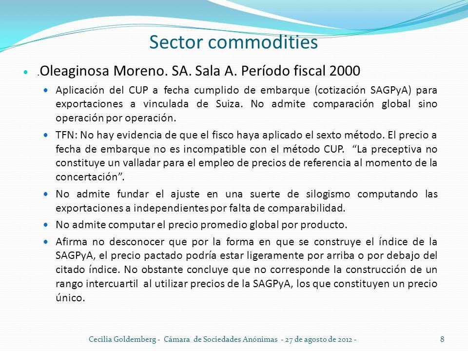 Sector commodities.Oleaginosa Moreno. SA. Sala A. Período fiscal 2000.