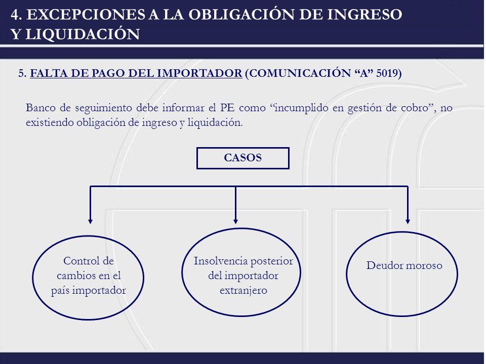 4. EXCEPCIONES A LA OBLIGACIÓN DE INGRESO Y LIQUIDACIÓN