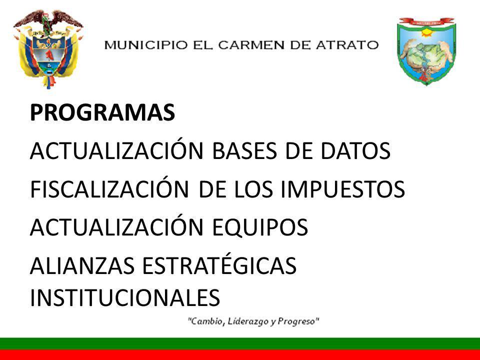 PROGRAMAS ACTUALIZACIÓN BASES DE DATOS FISCALIZACIÓN DE LOS IMPUESTOS ACTUALIZACIÓN EQUIPOS ALIANZAS ESTRATÉGICAS INSTITUCIONALES
