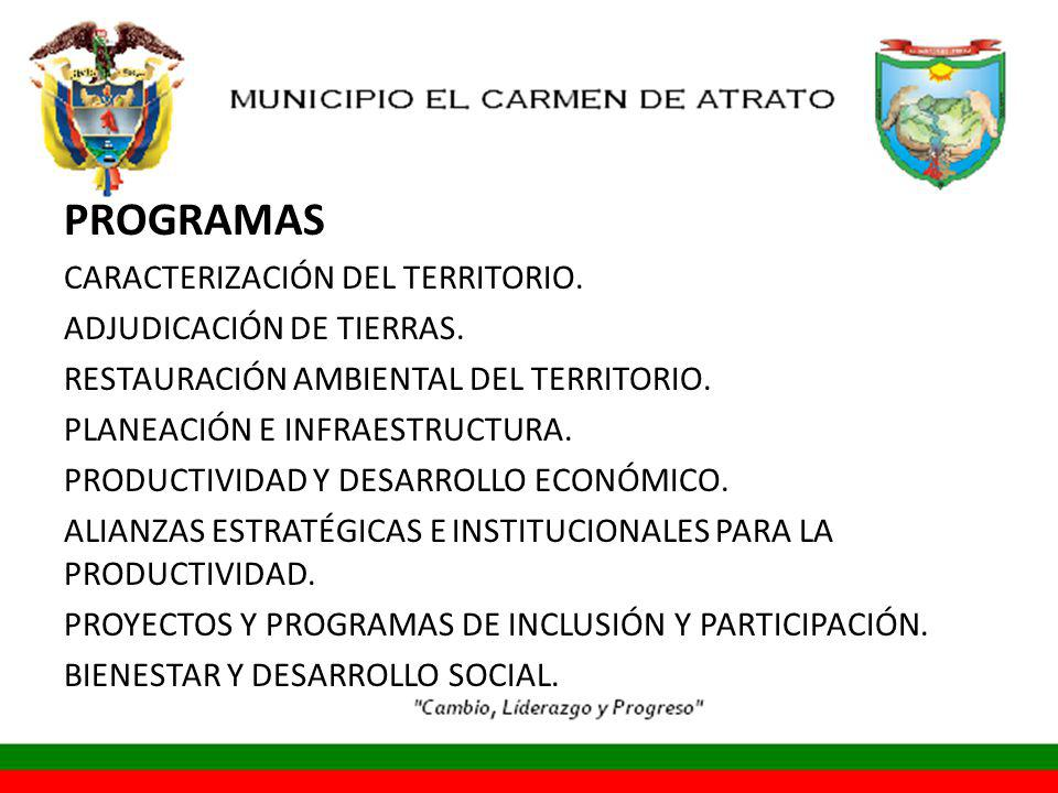PROGRAMAS CARACTERIZACIÓN DEL TERRITORIO. ADJUDICACIÓN DE TIERRAS.