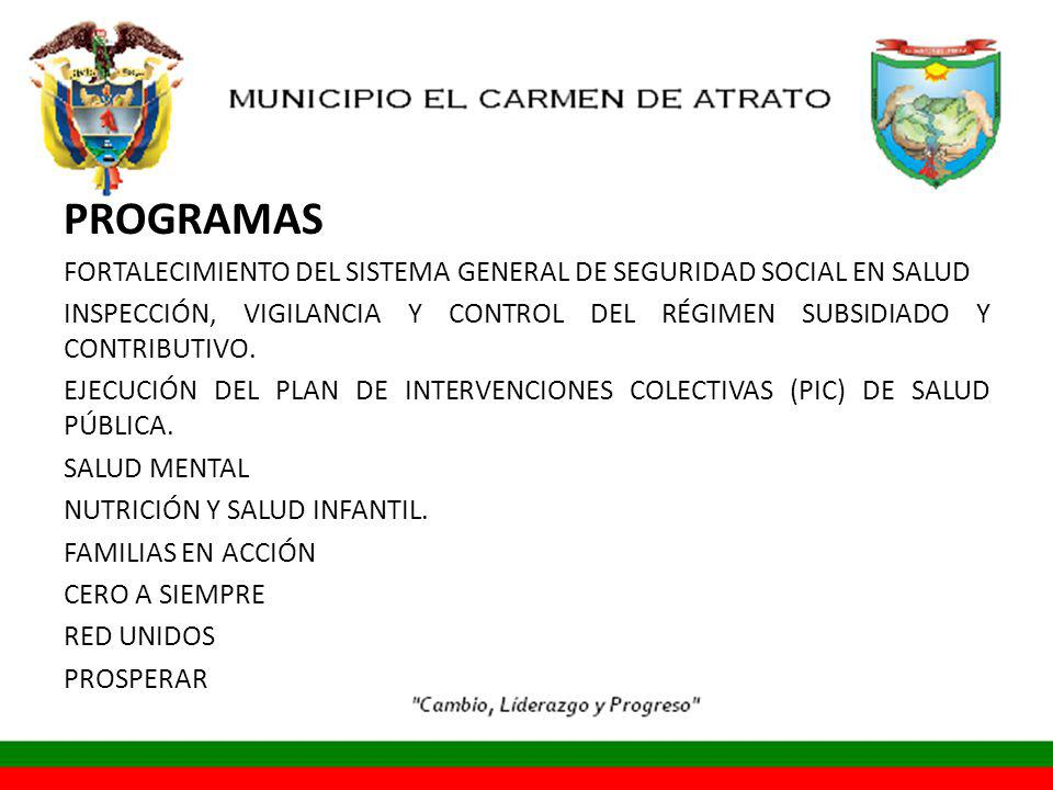 PROGRAMAS FORTALECIMIENTO DEL SISTEMA GENERAL DE SEGURIDAD SOCIAL EN SALUD. INSPECCIÓN, VIGILANCIA Y CONTROL DEL RÉGIMEN SUBSIDIADO Y CONTRIBUTIVO.