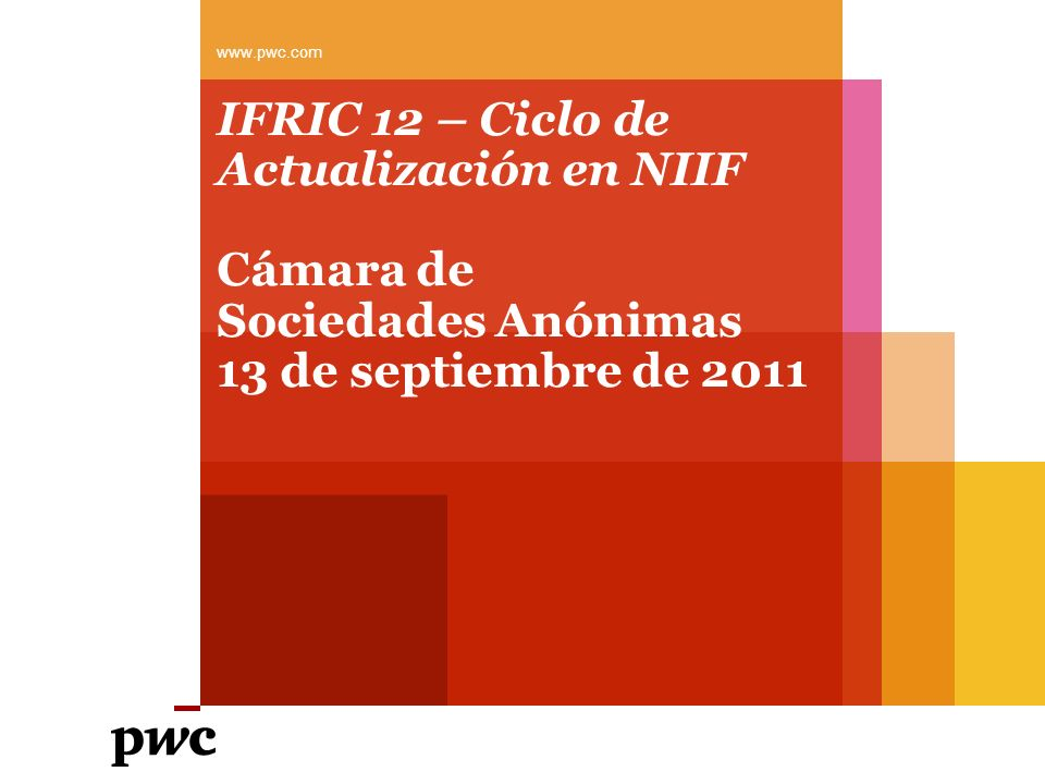 www.pwc.com IFRIC 12 – Ciclo de Actualización en NIIF Cámara de Sociedades Anónimas 13 de septiembre de 2011.