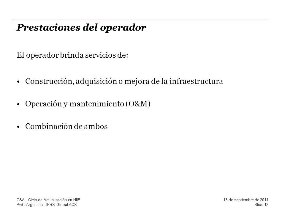 Prestaciones del operador