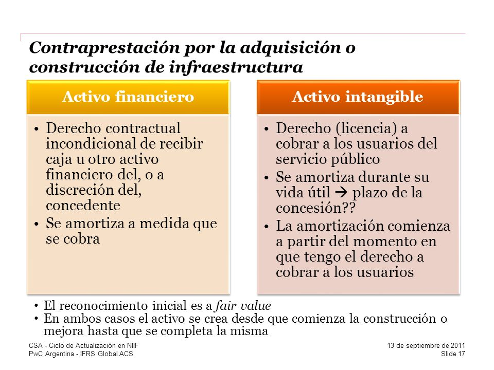 Contraprestación por la adquisición o construcción de infraestructura