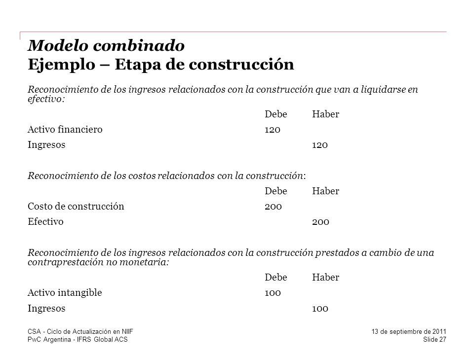 Modelo combinado Ejemplo – Etapa de construcción