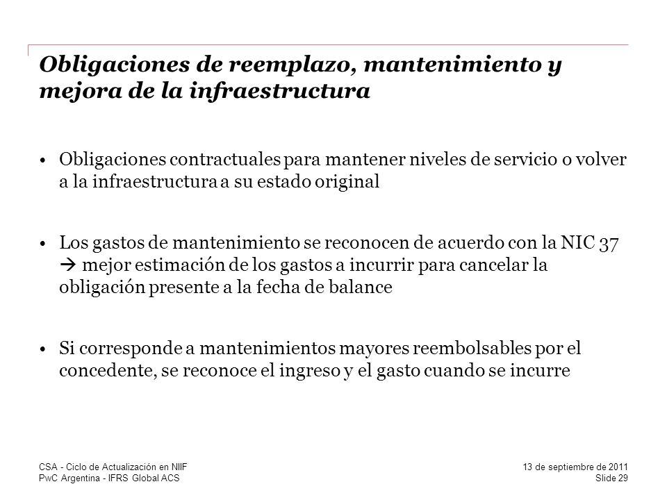 Obligaciones de reemplazo, mantenimiento y mejora de la infraestructura