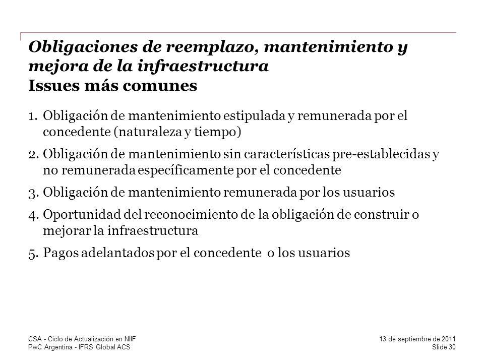 Obligaciones de reemplazo, mantenimiento y mejora de la infraestructura Issues más comunes