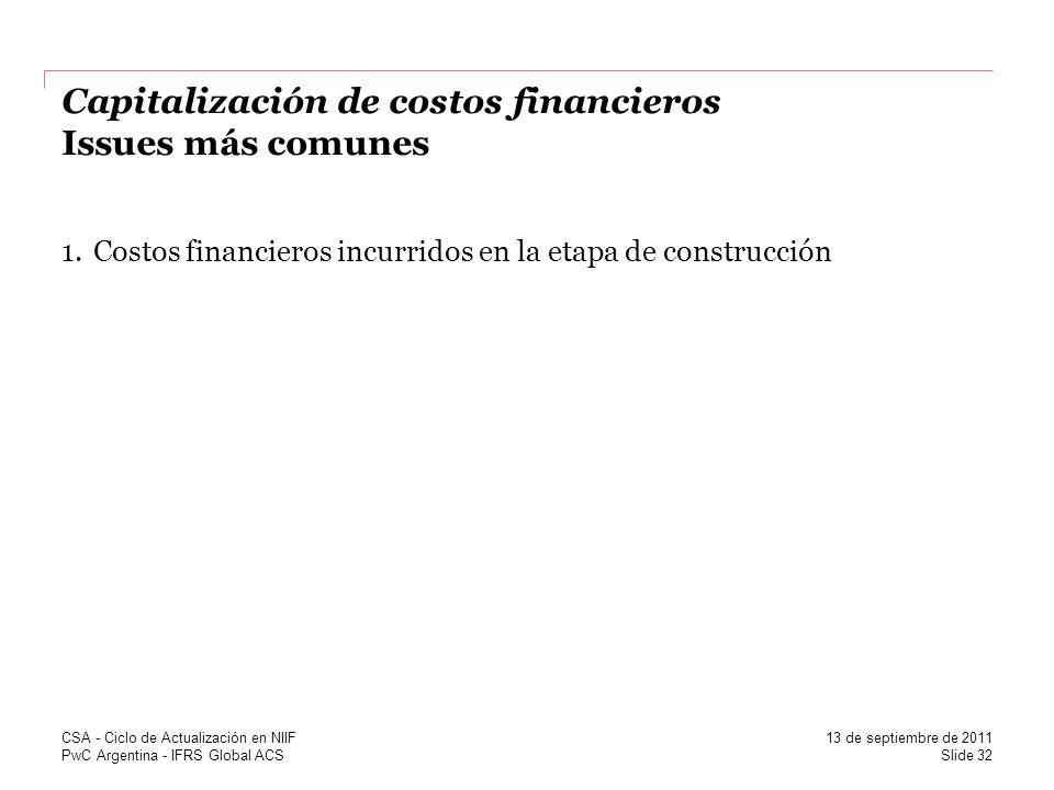 Capitalización de costos financieros Issues más comunes