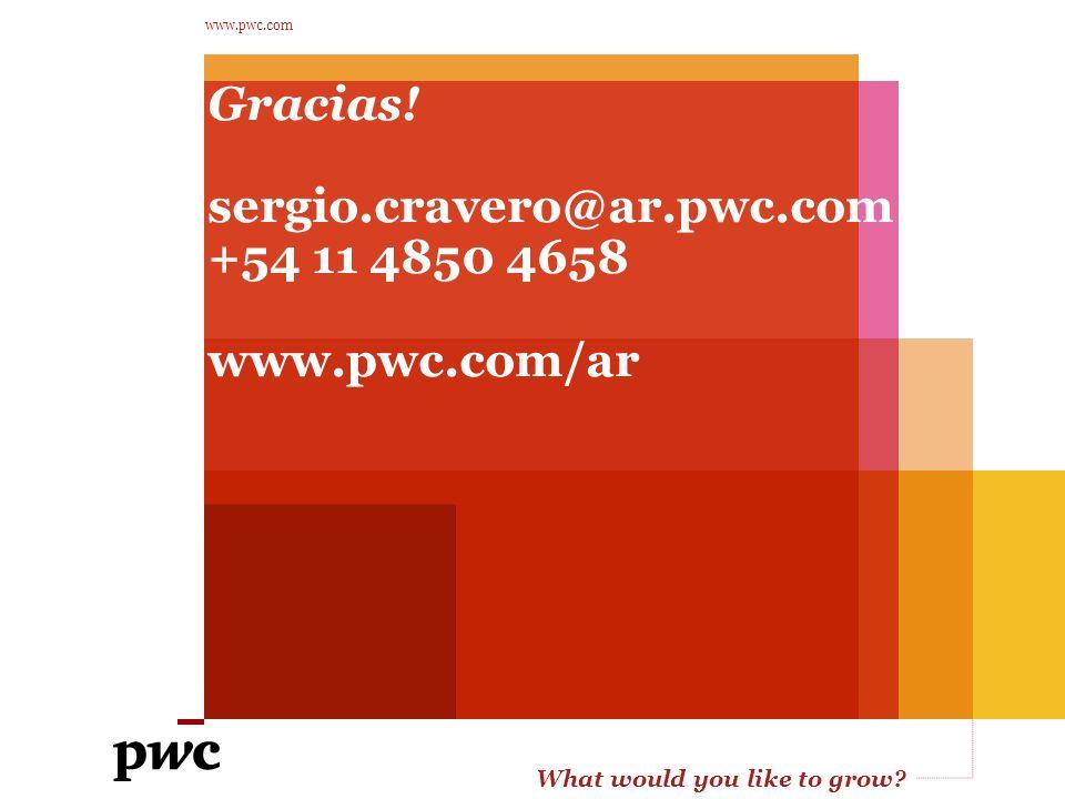 Gracias! sergio.cravero@ar.pwc.com +54 11 4850 4658 www.pwc.com/ar