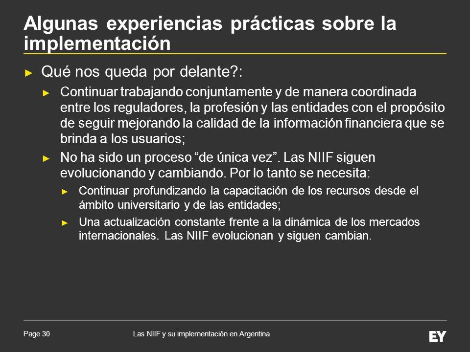 Algunas experiencias prácticas sobre la implementación