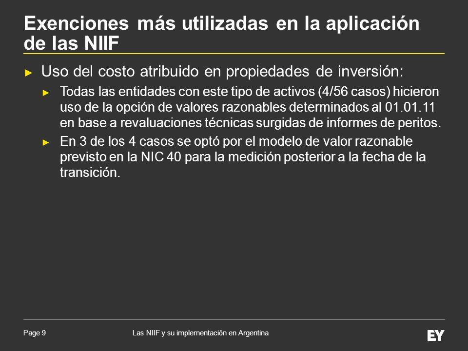 Exenciones más utilizadas en la aplicación de las NIIF