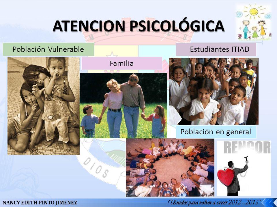 ATENCION PSICOLÓGICA Población Vulnerable Estudiantes ITIAD Familia