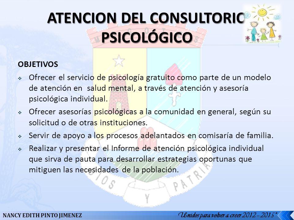 ATENCION DEL CONSULTORIO PSICOLÓGICO