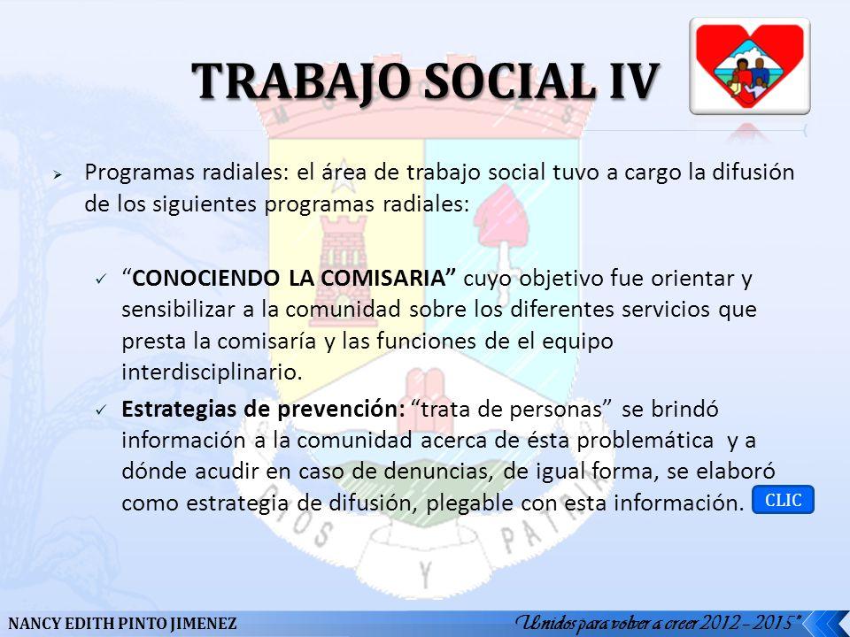 TRABAJO SOCIAL IV Programas radiales: el área de trabajo social tuvo a cargo la difusión de los siguientes programas radiales: