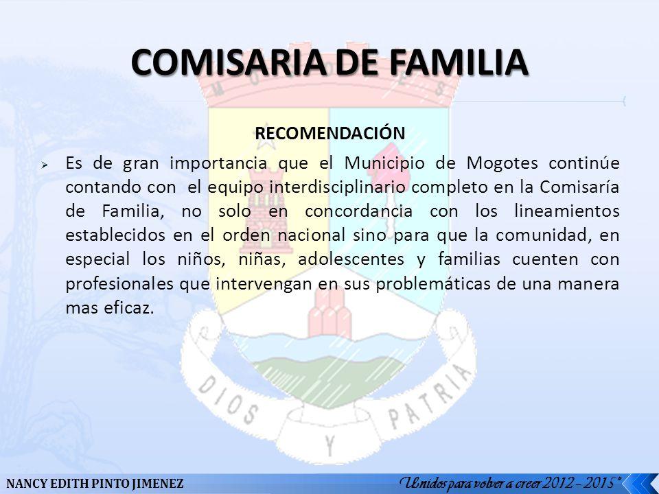 COMISARIA DE FAMILIA RECOMENDACIÓN