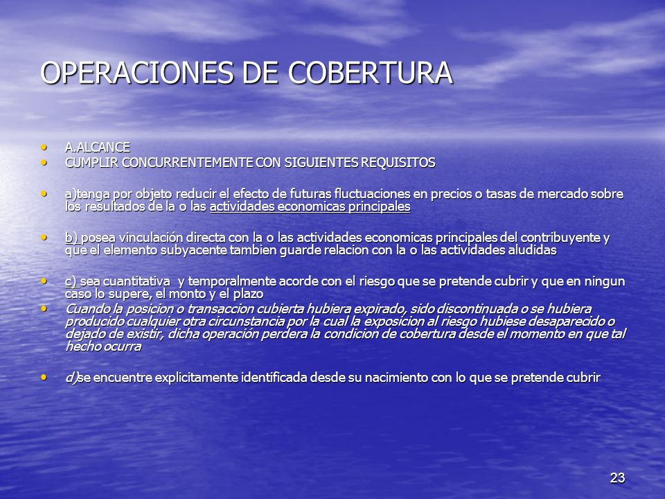 OPERACIONES DE COBERTURA