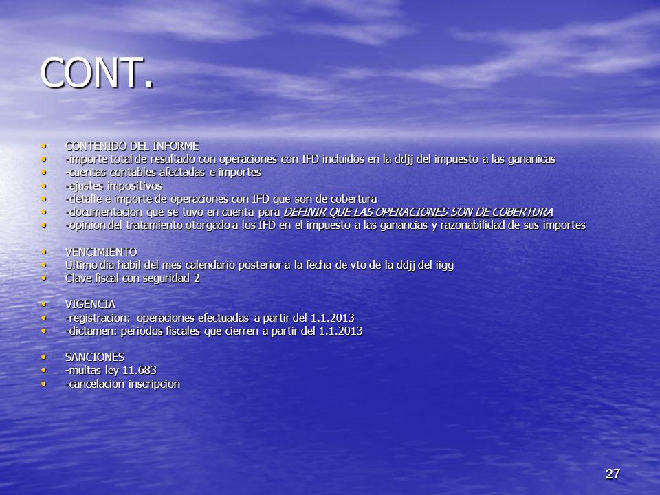CONT. CONTENIDO DEL INFORME