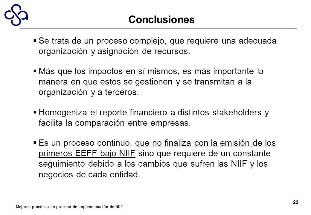 Conclusiones Se trata de un proceso complejo, que requiere una adecuada organización y asignación de recursos.