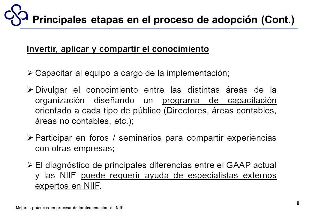 Principales etapas en el proceso de adopción (Cont.)