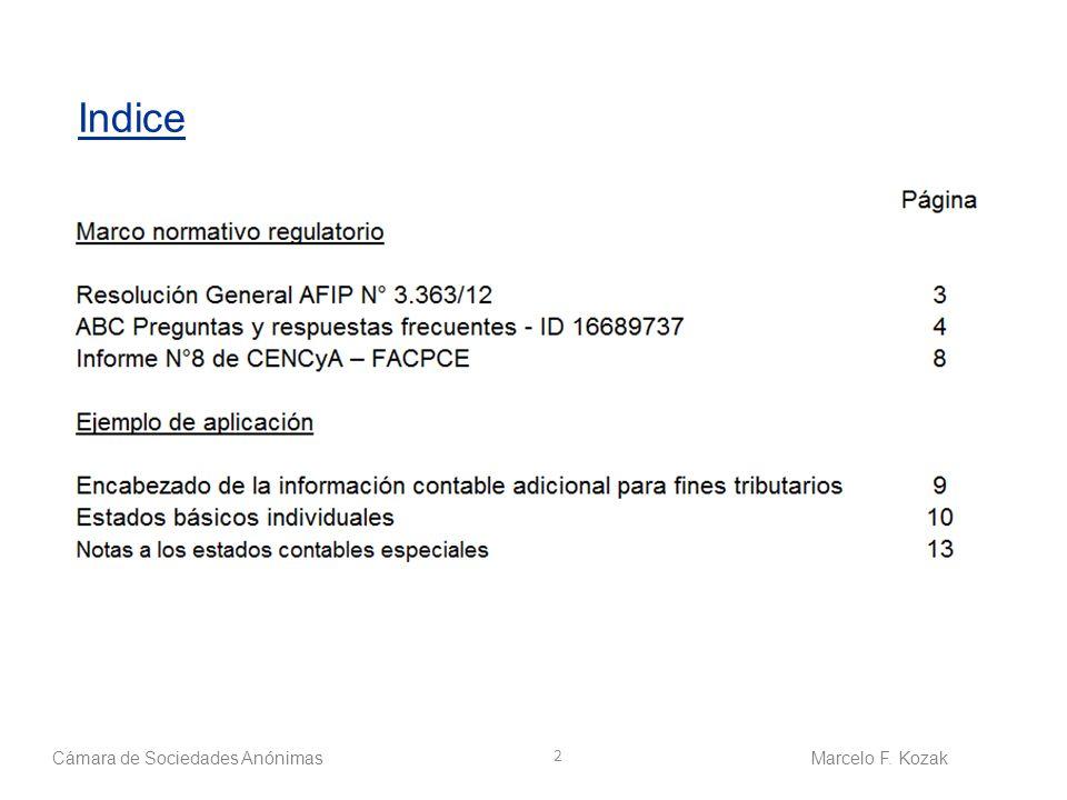 Indice Cámara de Sociedades Anónimas Marcelo F. Kozak