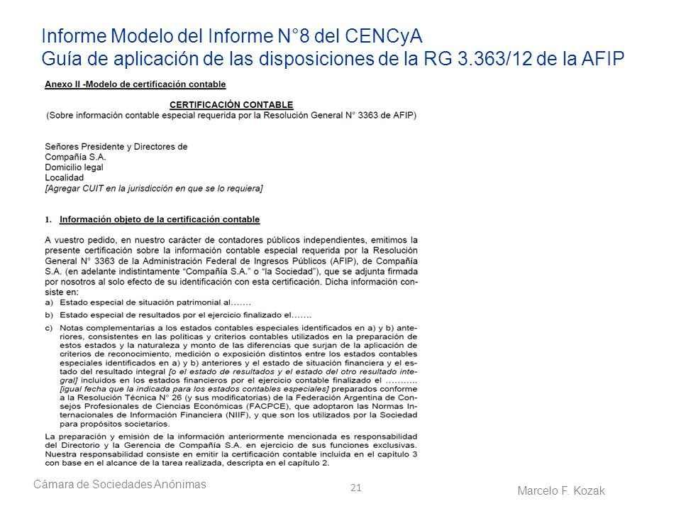 Informe Modelo del Informe N°8 del CENCyA Guía de aplicación de las disposiciones de la RG 3.363/12 de la AFIP
