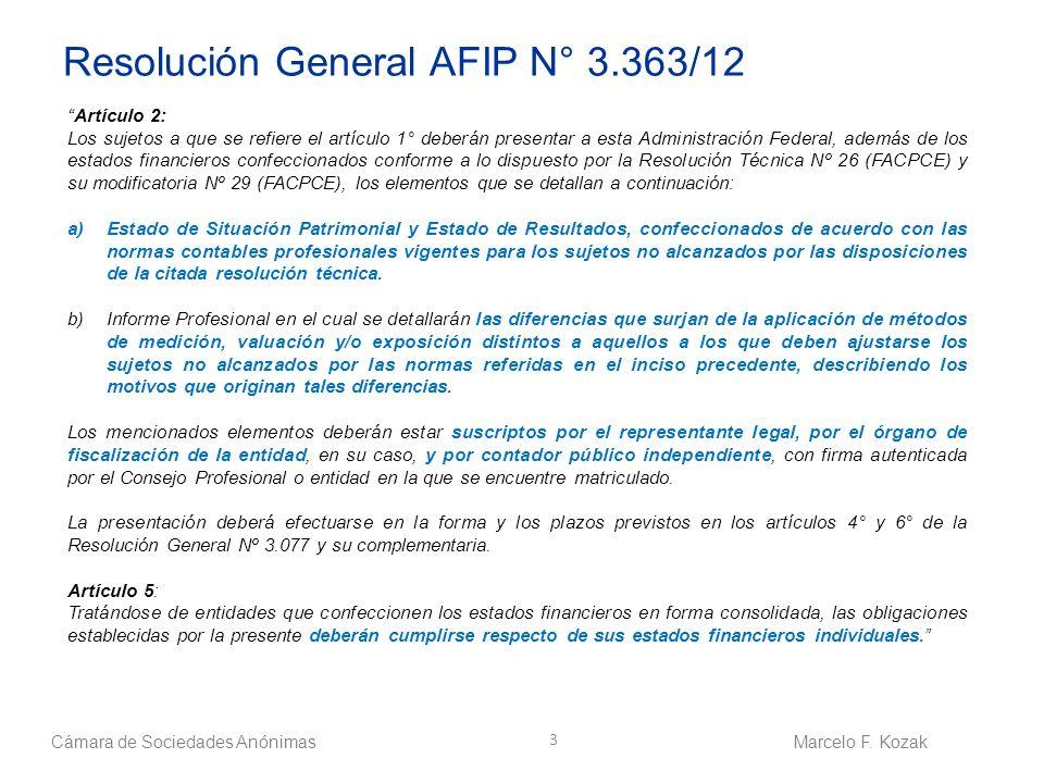 Resolución General AFIP N° 3.363/12
