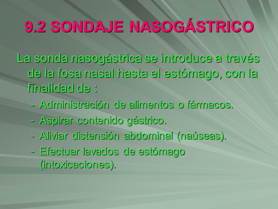9.2 SONDAJE NASOGÁSTRICO La sonda nasogástrica se introduce a través de la fosa nasal hasta el estómago, con la finalidad de :